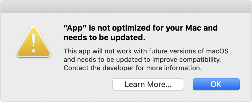 App is not optimized for your Mac and needs to be updated